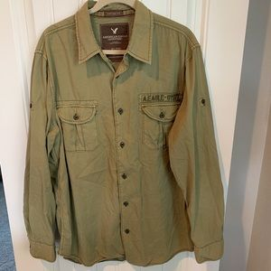 American Eagle military style button up shirt XL